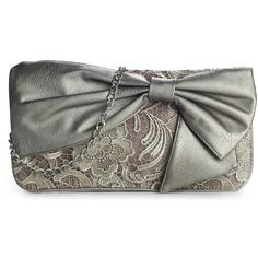 Poppie Jones Bow Lace Clutch ($35) ❤ liked on Polyvore featuring bags, handbags, clutches, purses, lace, accessories, poppie jones purse, black purse, bow purse en black lace purse