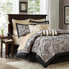 The Madison Park Aubrey Duvet Cover Set exudes classic, yet modern elegance with an updated paisley design rendered in a beautiful jacquard weave. Bedroom Comforter Sets, Full Comforter Sets, Duvet Cover Sets, Red Comforter, Duvet Sets, Matching Bedding And Curtains, Cream Curtains, Charlotte, Gold Bedroom