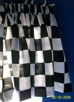 Limited Time ONLY NEW Disney Pixar Black White Checkered Checks Check CARS Window Valance Curtain Lightening McQueen Race Car. $13.99, via Etsy.