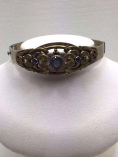 Rare Vintage Silver Gold Art Nouveau Deco Aquamarine Blue Stone Clasp Bracelet #Statement