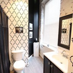 """HelloIndigoDesigns said, """"In my opinion, the bolder the better!"""" Do you agree or disagree? Personally we love the bold contrast in this Marrakech Trellis stenciled bathroom. Find the stencil here: http://www.cuttingedgestencils.com/moroccan-stencil-marrakech.html"""