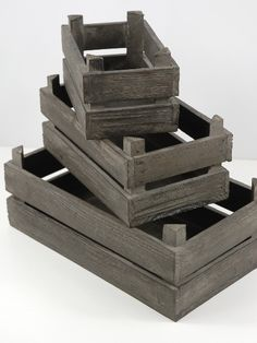 "Set of Three Wood Flats Crates $12    Dark gray natural wood flats.    Smallest: 6.5"" long x 4"" wide x 3.5"" tall  Medium 9"" long x 5.25"" wide x 4"" tall  Largest: 11.25"" long x 6.5"" wide x 4.25"" tall"