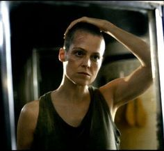 Sigourney Weaver as Ripley in one of the Alien movies (3?)