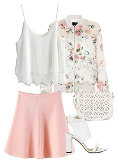 """""""Love is in the air"""" by isabellagrant001 ❤ liked on Polyvore featuring New Look, Chicwish, WithChic, IRO, Under One Sky, Spring, floral, pastel and bomberjacket"""