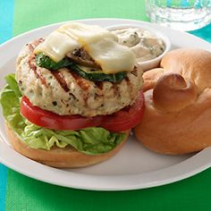 Basil Turkey Burgers with Muenster Cheese & Grilled Vegetables