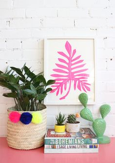 Philodendron – Neon Pink – Art Print, from Baba Soyk