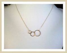 Eternity love Triple Circle Gold Pendant, necklace, Circle charm, Best Friends Gift, wedding jewelry, Necklace. $24.50, via Etsy.