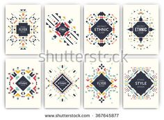 Set of geometric abstract colorful flyers - ethnic style brochure templates - collection of design elements - modern background templates - stock vector
