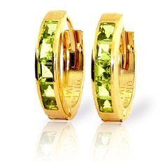 14k Yellow Gold Natural Princess-cut Channel-set Peridot Hoop Huggie Earrings: Jewelry: Amazon.com