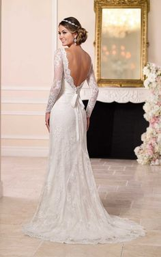 Elegant Illusion Neckline, lace over Matte-side Lustre Satin sheath wedding dress - Stella York style # 6155