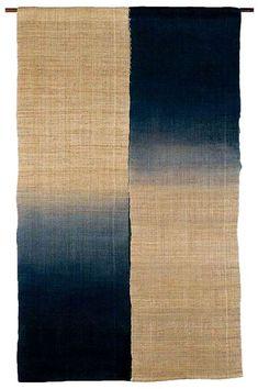 Japanese noren, ancient linen with indigo blue gradation Textile Prints, Textile Patterns, Textile Design, Textile Art, Japanese Textiles, Japanese Fabric, Japanese Design, Japanese Art, Shibori