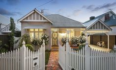 Also looks achievable : Darren & Deanne Jolly's Edwardian house. 17 Empress Road, Surrey Hills, Vic Stone and white colour scheme Exterior Color Schemes, Exterior House Colors, Exterior Paint, Exterior Design, Colour Schemes, Up House, House Front, Coastal Cottage, Cottage Homes