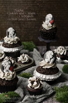 A fun twist on elegant cameos for Halloween, and one of my new favorite cupcake recipes ever.
