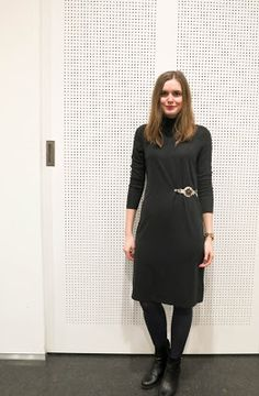 Fashionberries: Dark Grey Turtleneck Dress with Buckle by METRÁŽ