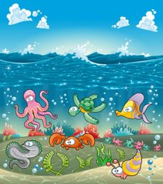 cartoon marine animals vector