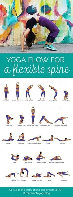 Yoga Flow for a Flexible, Bendy Spine - FREE PDF Print out this yoga flow and do it at home to promote a healthy spine and increase mobility. This one is challenging and sure to get the body fired up! pilates Yoga Flow for a Bendy Spine - FREE PDF Fitness Workouts, Yoga Fitness, Fitness At Home, Health And Fitness, Video Fitness, Fitness Tips, Yoga Pilates, Pilates Training, Pilates Reformer