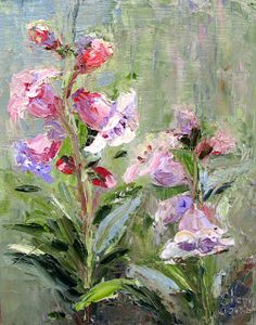 Artists Of Texas Contemporary Paintings and Art - Wild Foxglove by Artist of Texas, Sheri Jones