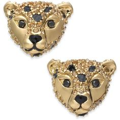 kate spade new york 14k Gold-Plated Cheetah Stud Earrings ($58) ❤ liked on Polyvore featuring jewelry, earrings, multi, kate spade jewelry, 14 karat gold stud earrings, 14k gold plated earrings, kate spade and gold plated jewellery