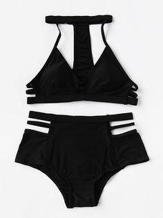 Shop Ladder Cutout High Waist Bikini Set With Choker Neck online. SheIn offers Ladder Cutout High Waist Bikini Set With Choker Neck & more to fit your fashionable needs.