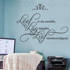 Welcome to StickyThings Wall Stickers South Africa - we offer wall stickers also known as wall decals, vinyl wall decals, wall art and even wall tattoos! Wall Quotes, Bible Quotes, Wall Stickers, Wall Decals, Silhouette Sign, Afrikaanse Quotes, Pretty Quotes, Teacher Quotes, Vinyl Wall Art