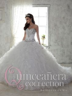 House of Wu Quinceanera Dress Style Number 26808 is made for Sweet 15 girls who want to look like a beautiful Princess on her special day. Be simply stunning in this shining ball gown with refined bea
