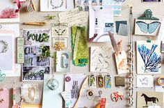 """""""An inspiration board in my office fuels my creativity and gives my blank wall interest and depth. I pin Tumblr images, personal snapshots, ribbon, fabric swatches, matchbooks...anything that inspires me for the season."""" —Susan"""