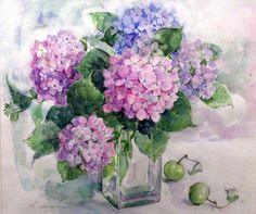 A selection of colors for creativity - Pictures for decoupage Art Floral, Watercolour Painting, Watercolor Flowers, Hydrangea Painting, Flower Art, Beautiful Flowers, Canvas Art, Hydrangeas, Drawing