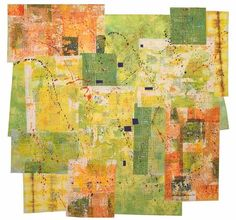 "Catherine Kleeman ~ ""Urban Green Space"" (2007) Artist dyed and painted cotton Multi surface design techniques Machine quilting 52 x 54 in. via cathyquilts.com"
