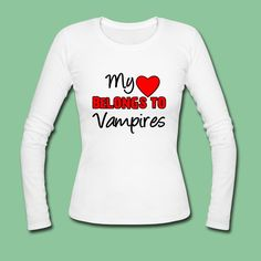 """""""My ♥ belongs to Vampires"""" - Amazing design on great products - not only, but also for """"Vampire Diaries"""" fans. #vampires #heart #vampirediaries #twilight #fun #support #fans #shirts #tees #gifts #merchandise"""