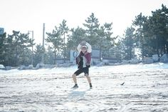 """[STARCAST] BTS in MV shooting for """"Spring Day"""" [ JIMIN ] Pink boy of the sea.  J-HOPE: Hoot, hoot!  J-HOPE is making a funny pose so that JIMIN would make a natural smile!!  But he failed to do it 'coz he laughed so hard.  Cr: star.naver.com"""