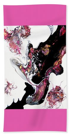 Lovely Flower-like Shapes Natural Feeling Patterns Pink White Black Airy Light Natural Feeling Drama Beach Towel featuring the painting Flutterbys #2160 by Expressionistart studio Priscilla Batzell