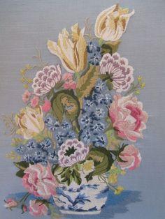 Vintage Crewel Embroidery Flowers Floral Arrangement Blue White Vase Finished