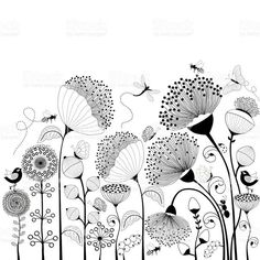 Schwarze und wei�e Blumen Lizenzfreies vektor illustration