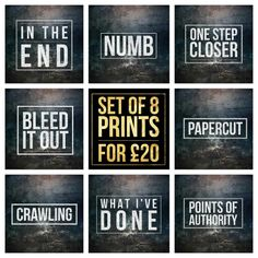 Song Titles In Quotes Set of 8   David Bowie Song Title Prints   Square 8x8