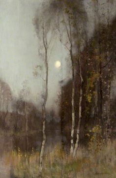 Robert Macaulay Stevenson - Scottish (1854 - 1952) Moonrise, c.1892, Oil on canvas, 111.8 x 76.2 cm. Kelvingrove Art Gallery and Museum, Argyle Street, Glasgow, Scotland