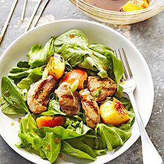 Grilled Pork and Peach Salad - perfect as a side dish or main dish!
