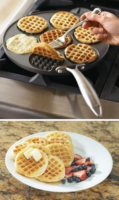 Make the perfect mini waffles with the Waffle Pancake Pan! This innovative cast-aluminum griddle from Nordic Ware allows you to create 7 waffles in a jiffy.Cool Kitchen Gadgets - Love this waffle pan! Oh Williams Sonoma you and your crafty kitchen gadgets Cool Kitchen Gadgets, Kitchen Items, Kitchen Utensils, Cool Kitchens, Kitchen Products, Kitchen Supplies, Cooking Utensils, Diy Kitchen, Cool Kitchen Appliances