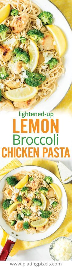 "Quick and healthy lightened up Lemon Broccoli Chicken Pasta. Fresh spring flavors of broccoli florets, lemon juice and zest with garlic chicken and whole-wheat spaghetti. Gluten free option. - <a href=""http://www.platingpixels.com"" rel=""nofollow"" target=""_blank"">www.platingpixels...</a>"