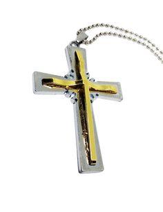 Ένας ιδιαίτερος ατσάλινος ανδρικός σταυρός μεγάλου μεγέθους σε διχρωμία ασημί χρυσό. Ο σταυρός δίνεται με ατσάλινη αλυσίδα με μπίλιες 60cm περίπου και μαύρο δερμάτινο λουρί 48cm περίπου. Διαστάσεις σταυρού: ~ 7x5cm Δείτε την φωτογραφία στο χέρι για να κατανοήσετε καλύτερα…