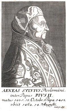 Engraving of Pope Pius II (1405-1464) by Johann-Benjamin Bruhl