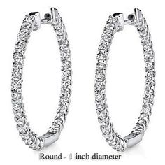 1.00 Carat (ctw) 14k White Gold Round Diamond Ladies In and Out Hoop Earrings | Your #1 Source for Jewelry and Accessories