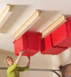Top 80 Best Tool Storage Ideas - Organized Garage Designs : Overhead Bins In Garage Small Space Tool Storage Ideas From power to hand tools and beyond, discover the top 80 best tool storage ideas. Explore cool organized garage and workshop designs. Garage Organization Tips, Diy Garage Storage, Storage Hacks, Storage Bins, Tool Storage, Storage Ideas, Household Organization, Storage Solutions, Storage Systems