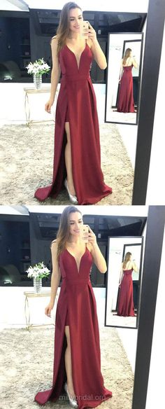 Burgundy Prom Dresses, Long Prom Dresses, Prom Dresses Split Front, Red Prom Dresses A-line, 2018 Prom Dresses V-neck, Satin Prom Dresses For Teens #promgirls