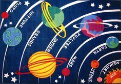 Fun Time Solar System Classroom Kids Rug