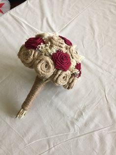 Eco Friendly Burlap Bouquet with cotton burgundy flowers. Size is 7.5'' as a medium bridal bouquet.