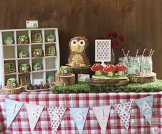 Totally amazing party decor by Elena using Lawn Fawn Critters in the Forest and Gnome Sweet Gnome _ into the woods...  