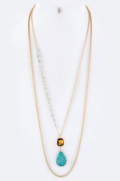 Chic Precious Stones and Crystal Teardrop Layer Necklace Set