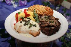 Filet Mignon w/ Frizzled Onion & Chicken Picatta #duetplate #LaurelManor #Cuisine #MetroDetroit #MichiganWeddings