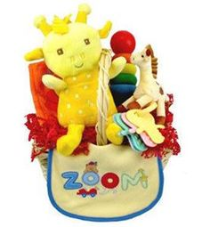 Colorful Baby Teletubby Gift Basket Colorful and fun, this delightful baby gift basket will make a unique impression on the new parents without breaking the bank! Caringly arranged inside a reusable n
