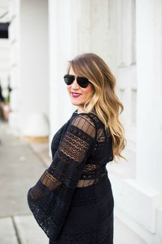 Little black dress outfit - the details in this lace LBD really set it apart. Click through to see the whole look!